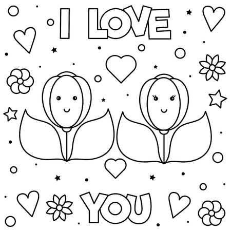 I Love You. Coloring page. Black and white vector illustration of flowers.