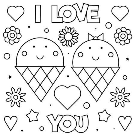 I Love You. Coloring page. Black and white vector illustration. Ilustração