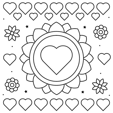 Coloring page. Black and white vector illustration of flowers and hearts.