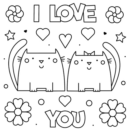 I Love You. Coloring page. Black and white vector illustration of cats.
