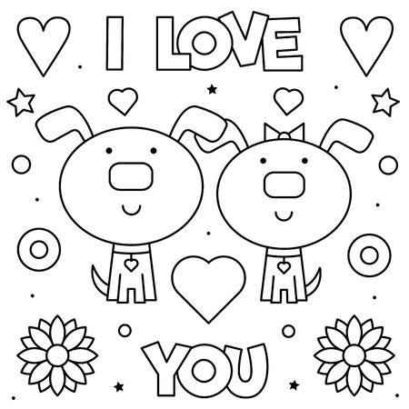 I Love You. Coloring page. Black and white vector illustration. 矢量图像