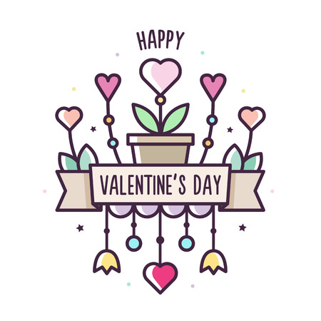 Happy Valentines Day. Vector illustration of hearts. Banner.