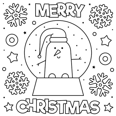 Snow globe with a snowman in hat. Coloring page. Black and white vector illustration.