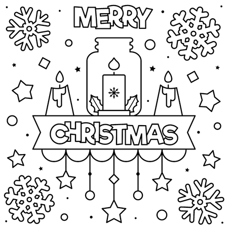 Merry Christmas. Coloring page. Black and white vector illustration Illustration