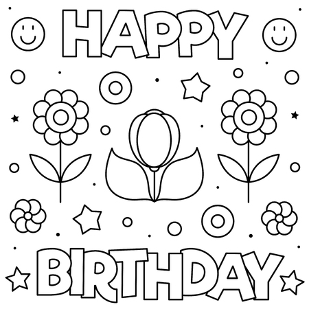 Happy Birthday. Coloring page. Black and white vector illustration of flowers Illusztráció