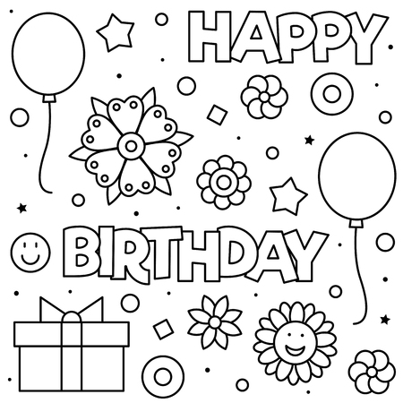 Happy Birthday. Coloring page. Black and white vector illustration of flowers and balloons