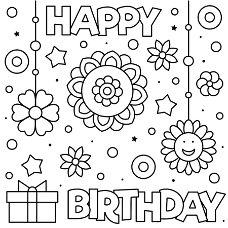 Happy Birthday. Coloring page. Black and white vector illustration of flowers and present
