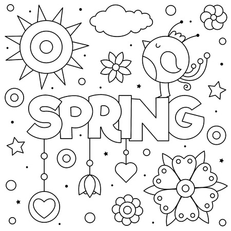 Spring. Coloring page. Black and white vector illustration. Bird and flowers