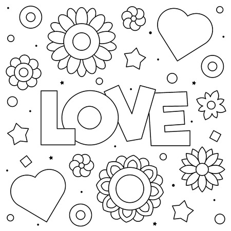 Love. Coloring page. Black and white vector illustration. Hearts and flowers