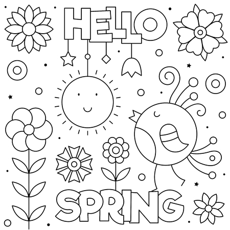 Hello Spring. Coloring page. Black and white vector illustration. Bird and flowers