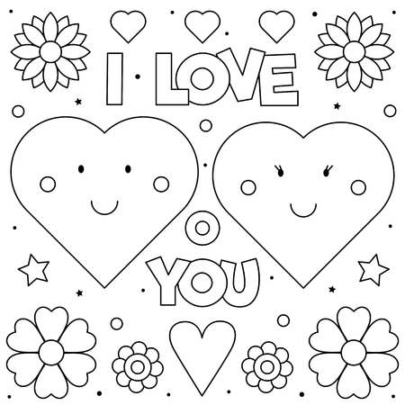 I Love You. Coloring page. Black and white vector illustration of hearts.