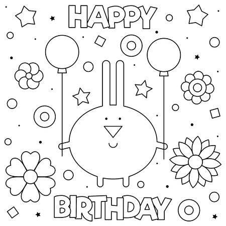 Happy Birthday. Coloring page. Black and white vector illustration Stockfoto - 126108397
