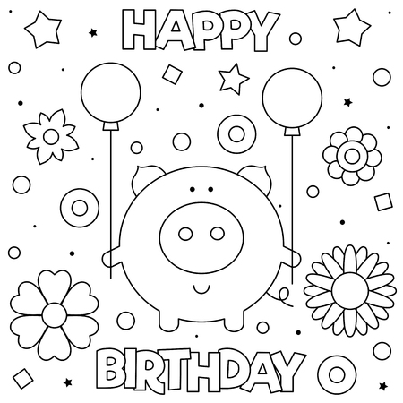 Happy Birthday. Coloring page. Black and white vector illustration Imagens - 126108398