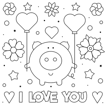 I Love You. Coloring page. Black and white vector illustration of a pig. Illustration