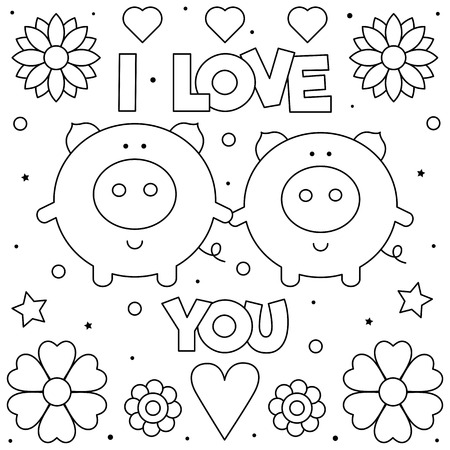 I Love You. Coloring page. Black and white vector illustration of pigs.