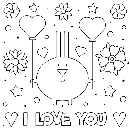 I Love You. Coloring page. Black and white vector illustration of rabbit.  イラスト・ベクター素材