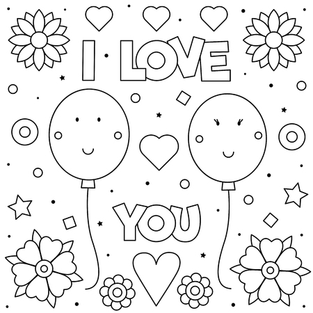 I Love You. Coloring page. Black and white vector illustration of balloons. Standard-Bild - 125903430