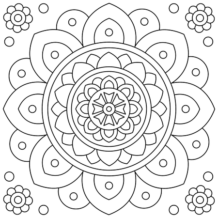 Flower. Mandala. Coloring page. Black and white vector illustration