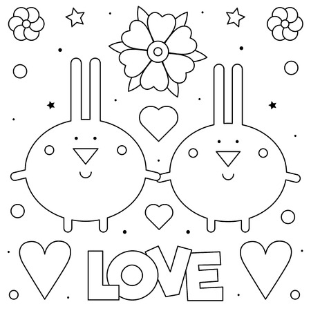 Coloring page. Black and white vector illustration of rabbits