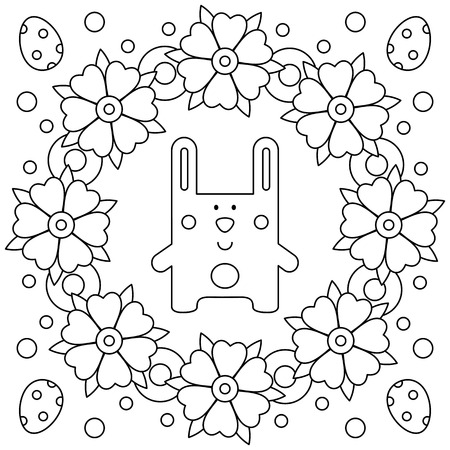 Easter wreath. Coloring page. Black and white vector illustration Imagens - 125603968