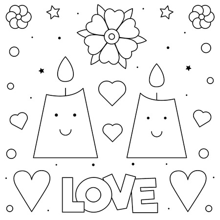 Coloring page. Black and white vector illustration of pcandles.