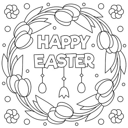 Happy Easter. Coloring page. Black and white vector illustration