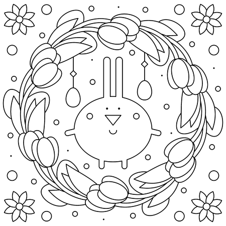 Easter wreath. Coloring page. Black and white vector illustration Çizim