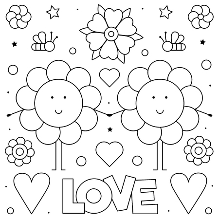 Love. Coloring page. Black and white vector illustration of flowers.