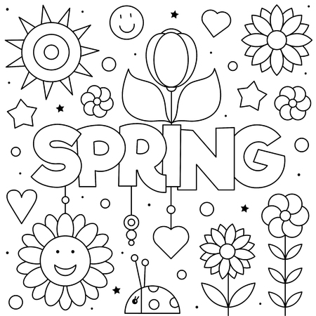 Spring. Coloring page. Black and white vector illustration