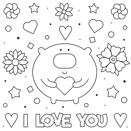I Love You. Coloring page. Black and white vector illustration of a bear with heart. Imagens - 125275426