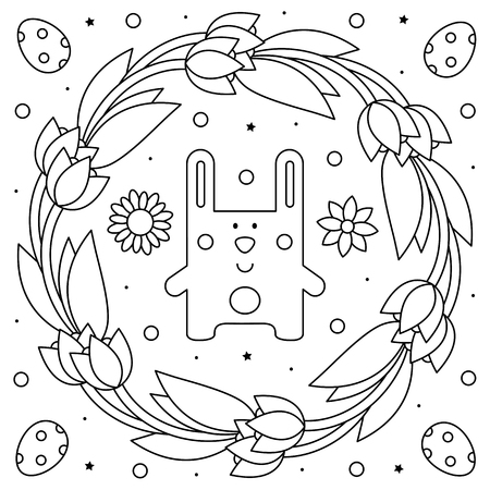Easter wreath. Coloring page. Black and white vector illustration Ilustracja