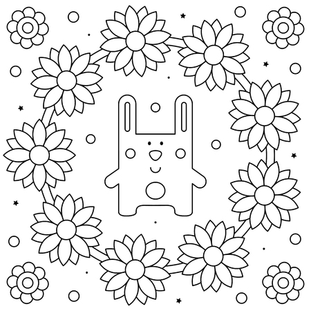 Floral wreath. Coloring page. Black and white vector illustration Illustration