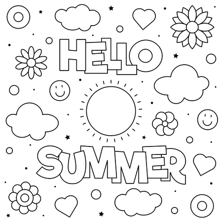 Hello Summer. Coloring page. Black and white vector illustration 版權商用圖片 - 124806763
