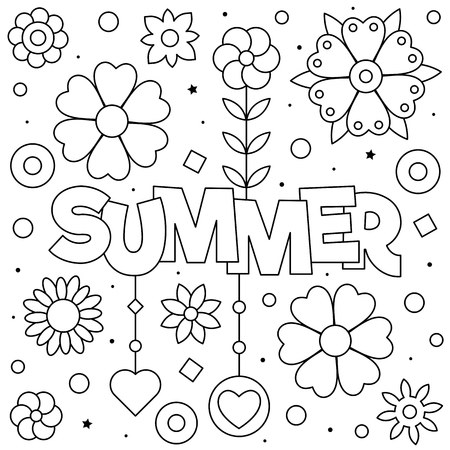 Summer. Coloring page. Black and white vector illustration Çizim