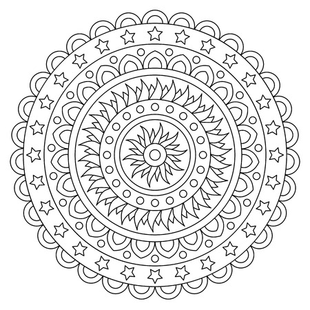 Coloring page. Black and white vector illustration of mandala Illusztráció