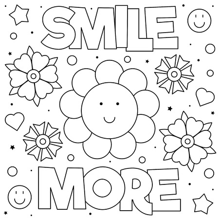 Smile more. Coloring page. Black and white vector illustration. Çizim