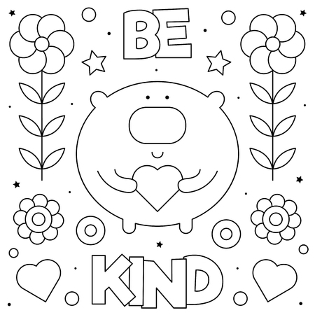 Be kind. Coloring page. Black and white vector illustration of a bear with a heart. Vettoriali