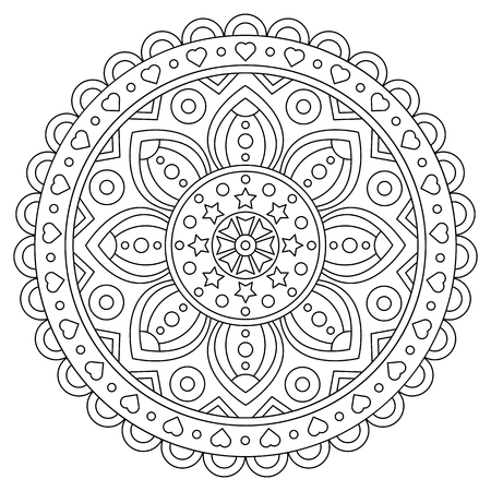 Coloring page. Black and white vector illustration of mandala.