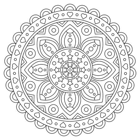 Coloring page. Black and white vector illustration of mandala. Standard-Bild - 124806767