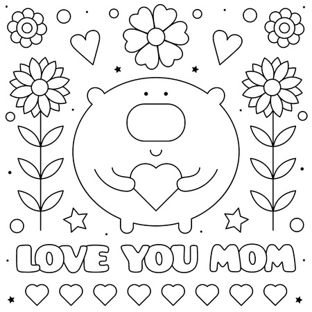 Love you mom. Coloring page. Black and white vector illustration of a bear with a heart. Imagens - 124806768