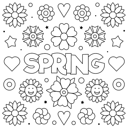 Spring. Coloring page. Black and white vector illustration Standard-Bild - 124380746