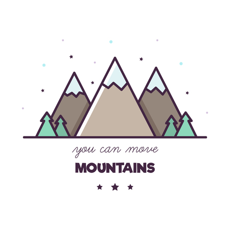 You can move mountains. Vector illustration of mountains. Inspiration. Standard-Bild - 124380747