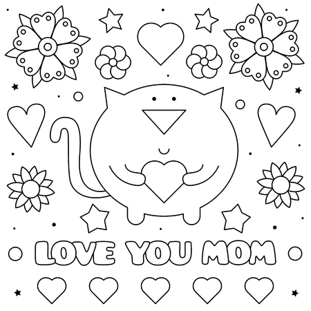 Love you mom. Coloring page. Black and white vector illustration of a cat with a heart. Stockfoto - 124380748