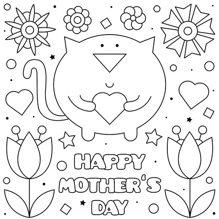 Happy Mothers Day. Coloring page. Black and white vector illustration Imagens - 124380749