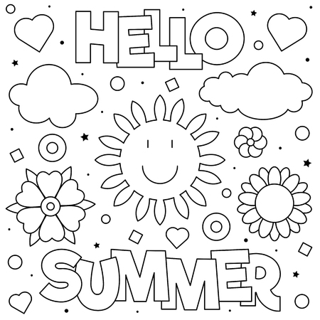 Hello Summer. Coloring page. Black and white vector illustration Imagens - 124380750
