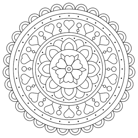 Coloring page. Black and white vector illustration of mandala Ilustração