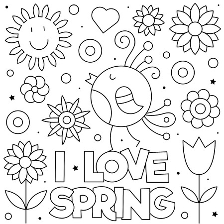 I love Spring. Coloring page. Black and white vector illustration Archivio Fotografico - 124380751