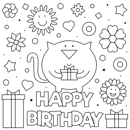 Happy Birthday. Coloring page. Black and white vector illustration Standard-Bild - 124380752