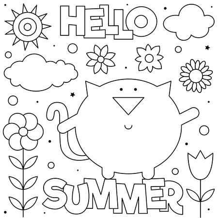 Hello summer. Coloring page. Vector illustration. Sun, clouds, flowers, cat.