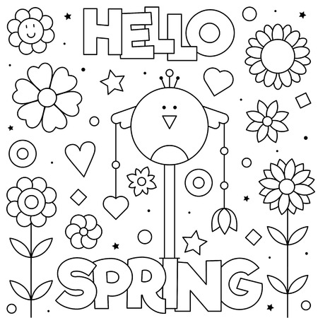 Hello Spring. Coloring page. Black and white vector illustration Imagens - 124380753